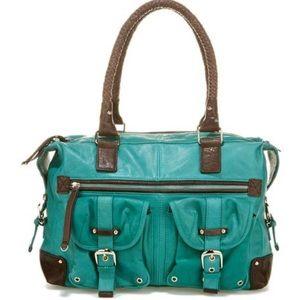 JUNIOR DRAKE ash satchel turquoise leather bag (G2